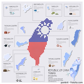 Dot And Flag Map Of Taiwan Republic Of China Infographic Design Template