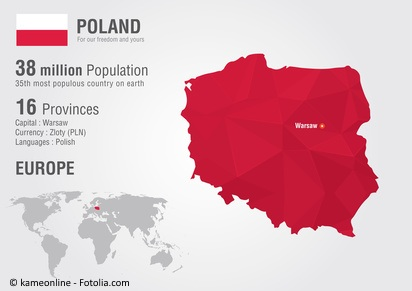 Poland world map with a pixel diamond texture. World geography.