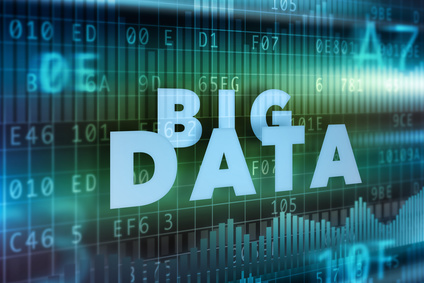 Big data blue background concept blue text