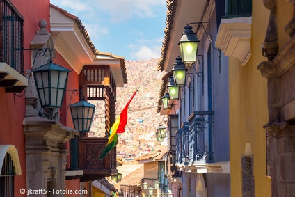 View of old colonial buildings on Jaen Street in La Paz, Bolivia
