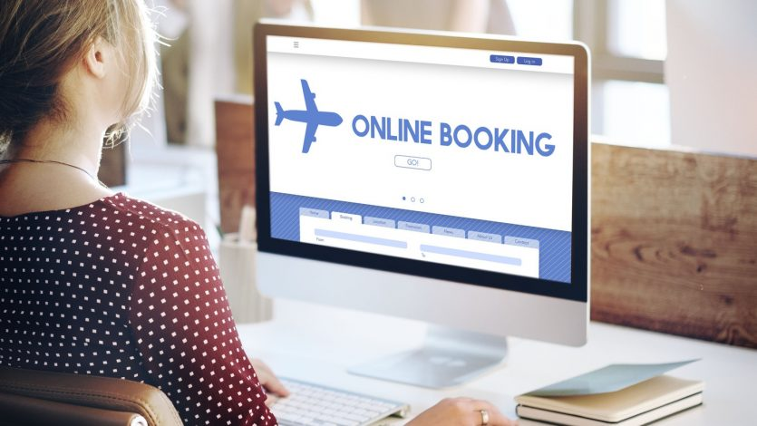 Online Booking Traveling Plane Flight Concept