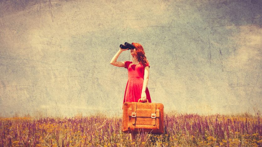 Portrait of a beautiful redhead girl in red dress with suitcase and binocular on the meadow. Photo in old color image style